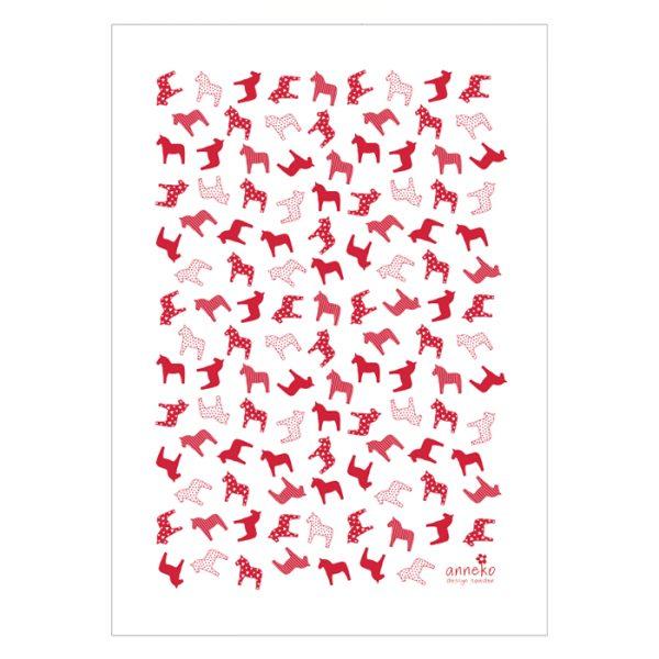 dalahäst handduk röd