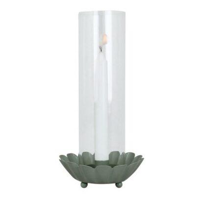 Ljusstake med glasrör grön